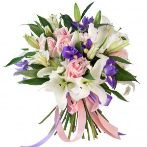 Сборный букет лилии, розы и ирисы R727