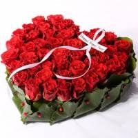 Сердце 31 красная роза с оформлением R511